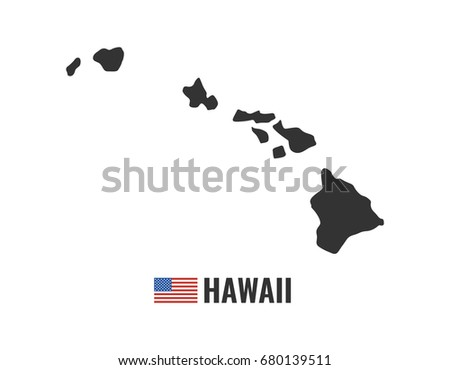 hawaii map isolated on white