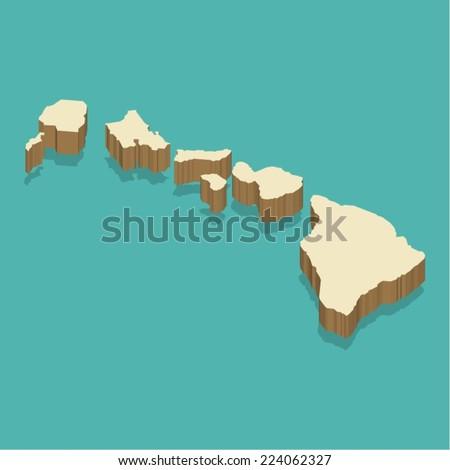 hawaii map vector three