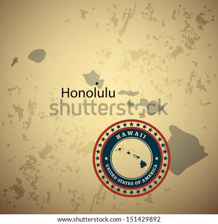 Hawaii map with stamp vintage vector background