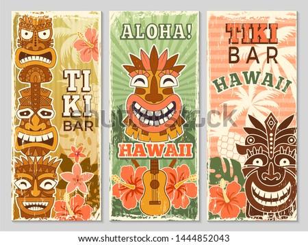 Hawaii retro banners. Aloha tourism summer adventure dancing party in tiki bar tribal masks vector illustration. Aloha hawaii, tribal tiki bar, exotic hawaiian adventure