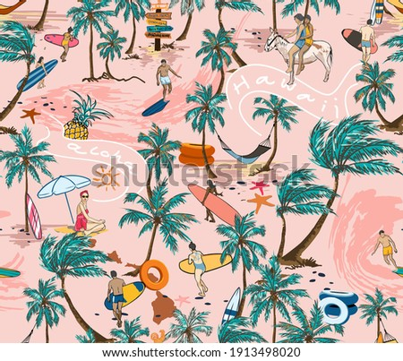 Hawaii Surf Beach Seamless Pattern illustration Vector On Pink Background Wallpaper, Palm Tree With Beach-men Playing Surf