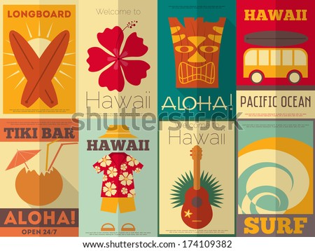 hawaii surf retro posters