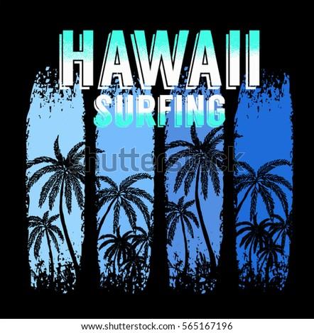 hawaii surfing graphic design