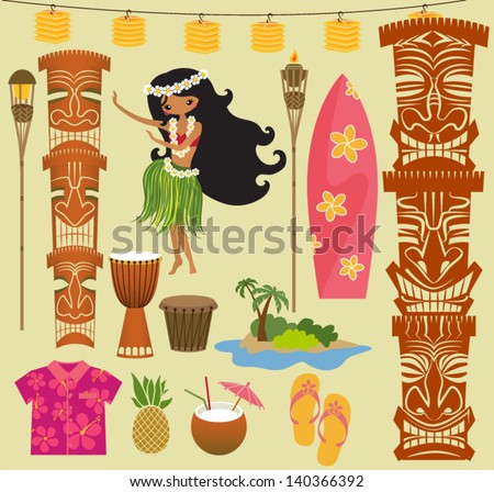 Hawaii Symbols and Icons, including Hula dancer, tiki gods, totem pole, drums, tiki torches and Hawaiian shirt