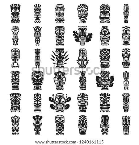 Hawaii tiki masks idols icon set. Simple set of hawaii tiki masks idols vector icons for web design on white background