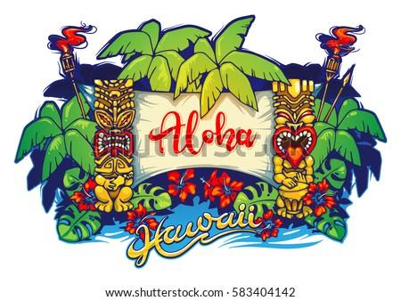 hawaii tiki statues and a