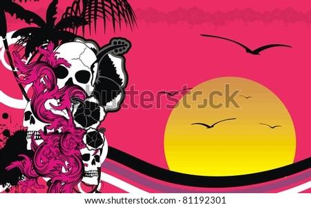 hawaii tropic skull background in vector format