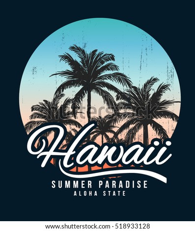 hawaii typography for t shirt