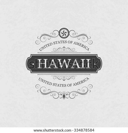 hawaii usa state.vintage frame.