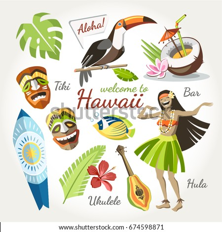 hawaii vector collection of