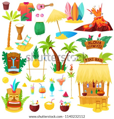 Hawaii vector hawaiian beach with tropical palm and sunbed or exotic fruity cocktails on summer vacation illustration set of hula tiki mask and surf icons isolated on white background
