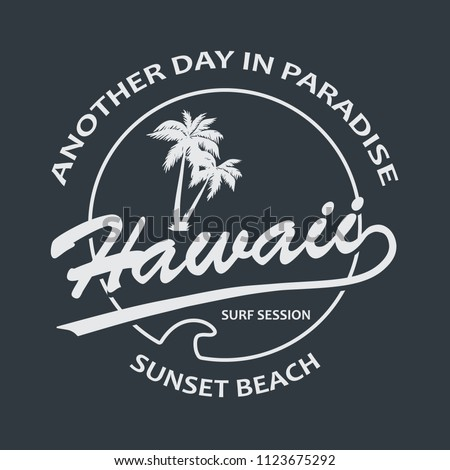 Hawaii Vintage T-Shirt Design Black and White. Vector.