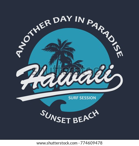 Hawaii Vintage T-Shirt Design Blue. Vector.