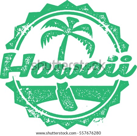Hawaii Vintage Tourism Stamp