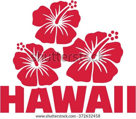 hawaii word with hibiscus