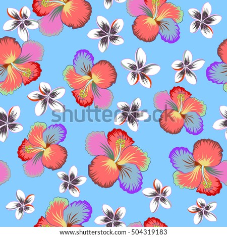 Hawaiian Aloha Shirt Seamless Pattern Multicolored On A Blue Background Vector