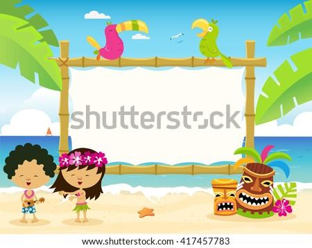 hawaiian billboard with kids