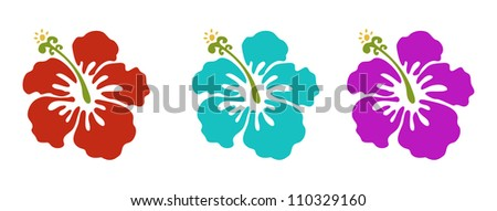 hawaiian flowers set  red green