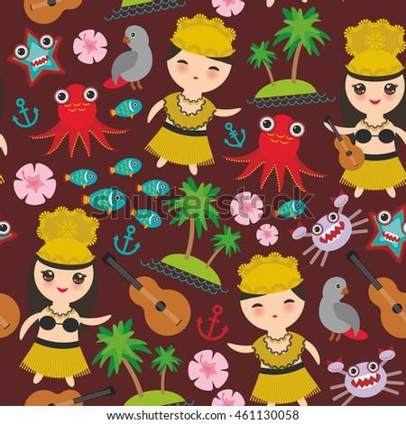 hawaiian hula dancer kawaii boy