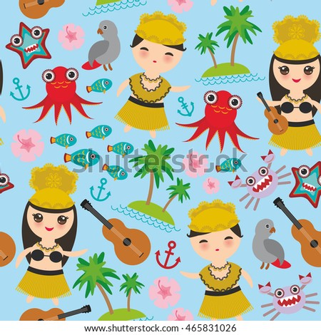 hawaiian hula dancer kawaii boy