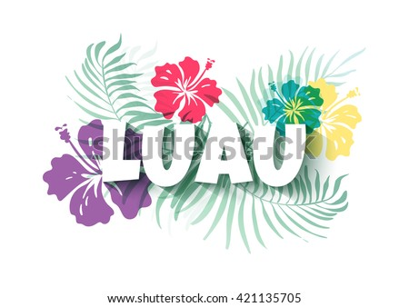 Hawaiian Luau Colorful background. Party Sign. Vector illustration