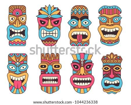 Hawaiian mask of tiki god. Wooden african sculpture. Tribal african wooden, totem of tiki, sculpture polynesian and mask hawaiian. Vector illustration