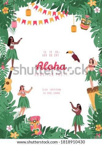 Hawaiian party poster or banner design with girls hula dancers and tropical toucan bird, flat cartoon vector illustration. Summer party in hawaiian style invitation.