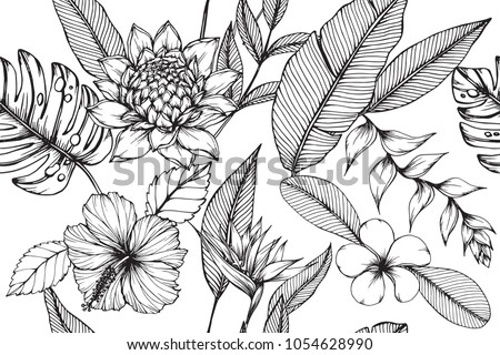 Hawaiian pattern seamless background with Tropical leaf, Heliconia, Hibiscus, Plumeria flower drawing illustration.