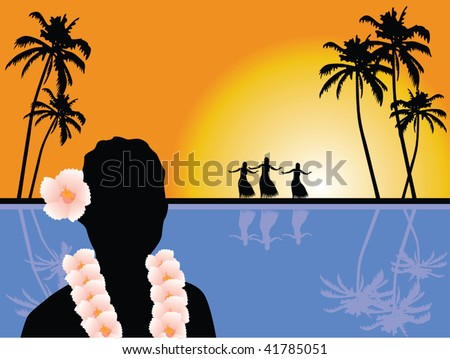 hawaiian scenery vector