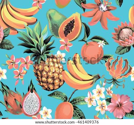hawaiian seamless pattern with