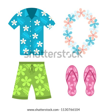 Hawaiian shirt, beach summer shorts, flower necklace and flip flops vector flat cartoon set of clothes isolated on white background.