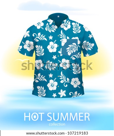 Hawaiian SHIRT, marine color. Complex VECTOR illustration, created with attention to details.