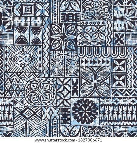 Hawaiian style tapa cloth motifs tribal fabric vintage vector seamless pattern  Foto stock ©