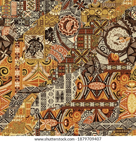 Hawaiian style tapa fabric patchwork abstract vintage vector seamless pattern