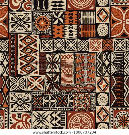 Hawaiian style tapa tribal fabric abstract patchwork vintage vector pattern Foto stock ©