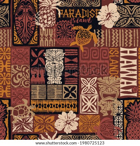 Hawaiian style tribal motif fabric patchwork abstract vintage vector seamless pattern