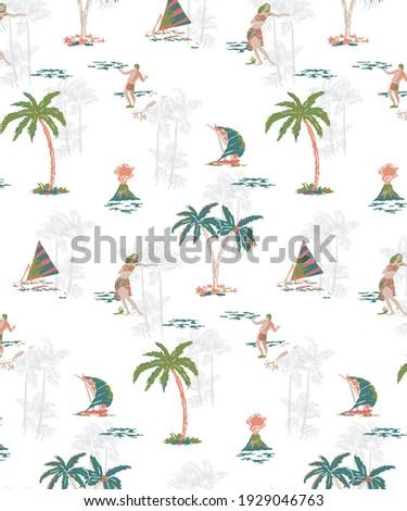 Hawaiian Summer Paradise with tropical elements like, Hula Girl, CoconutPalm, Ships, Volcano, Surfers and Beach