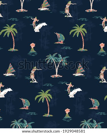 Hawaiian Summer Paradise with tropical elements like, Hula Girl, Palm, Ships, Volcano, Surfers and Beach