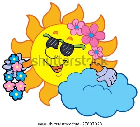 hawaiian flowers cartoon. stock vector : Hawaiian sun on