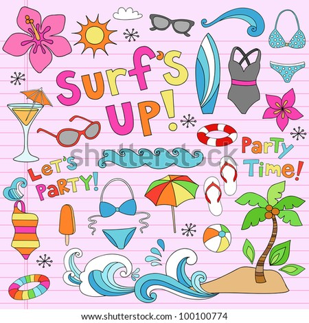 Hawaiian Surf's Up Summer Psychedelic Groovy Notebook Doodle Design Elements Set on Pink Lined Sketchbook Paper Background- Vector Illustration - stock vector