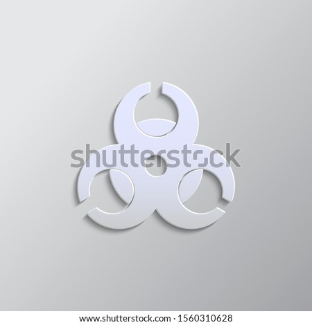 Hazard, biology, icon paper style. Grey color vector background