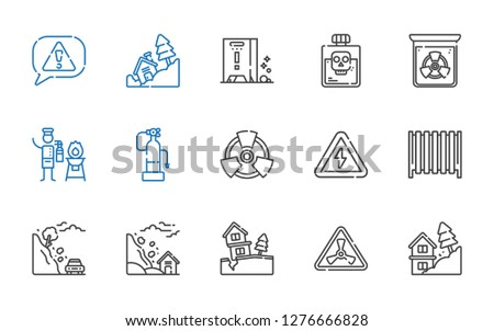 hazard icons set. Collection of hazard with landslide, nuclear, radiator, high voltage, radiation, fire extinguisher, poison, wet floor, risk. Editable and scalable hazard icons.
