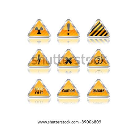 Hazard road sign set. Vector illustration. eps8 - stock vector