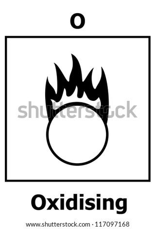Hazard symbol - Oxidizing - stock vector