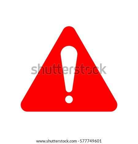 Hazard warning attention sign. Exclamation mark symbol. Vector. Red icon on white background. Isolated. #577749601