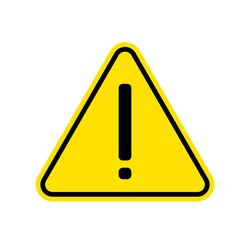 Hazard warning attention sign with exclamation mark symbol. Vector Isolated illustration