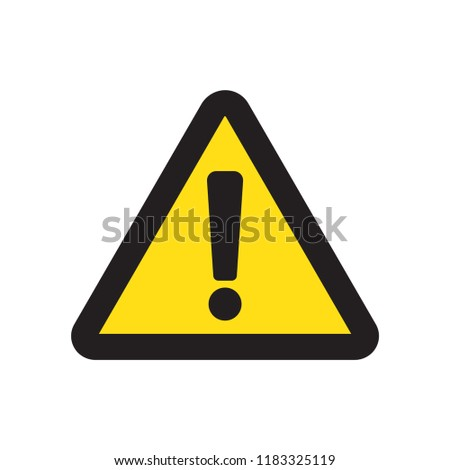 Hazard warning attention vector icon flat  sign symbol with exclamation mark illustration isolated on white background.Concept for danger.