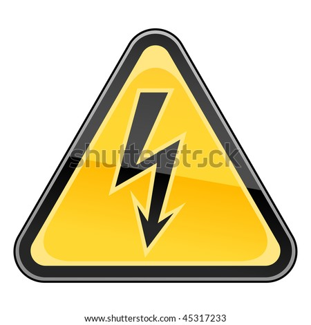 Hazard warning sign with high voltage symbol on a white background - stock vector