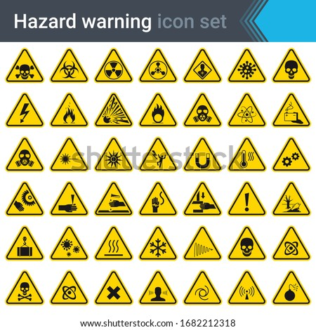 Hazard warning signs. Set of signs warning about danger. 42 high quality hazard symbols and elements. Danger icons. Vector illustration. Foto stock ©