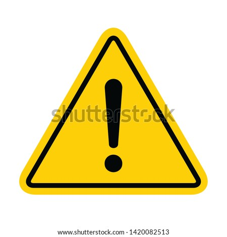 Hazard warning symbol vector icon flat sign symbol with exclamation mark isolated on white background . Stock foto ©